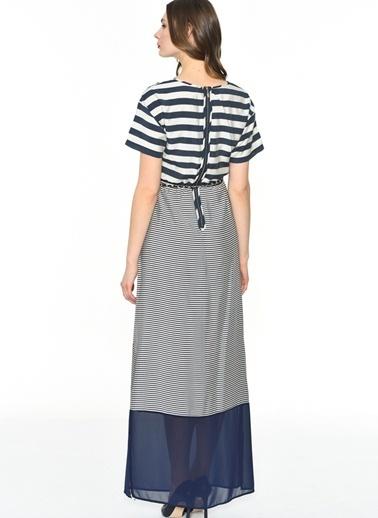 Çizgili Yırtmaçlı Uzun Elbise-Jus De Pommes